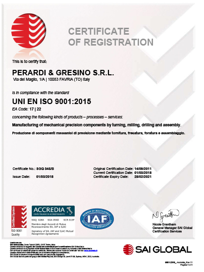 Quality Certification - Perardi e Gresino